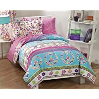 Dream Factory Peace And Love Peace Signs Girls Comforter Set Multi-Colored Twin Full