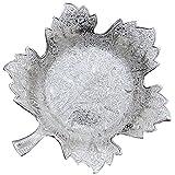 Imag-e-natlOn-A Craft Gallery Brass Grape Leaf Platter, Silver (24.13 Cm X 15.24 Cm X 1.27 Cm)