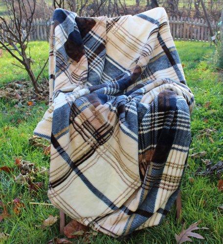 Tartan Plaid Brown Winter Throw Blanket