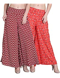 Myshka Women's Printed Regular Fit Orange Red Palazzo Pack Of 2 (PZ08)