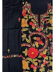 Exotic India Jet-Black Salwar Kameez Fabric From Kashmir With Ari Hand-E - Black
