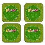 MeSleep Love Sister Wooden Coaster-Set Of 4 - B013LEL04Q
