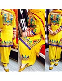 Fkart Festival Mega Sale Offer Cotton Yellow Embroidered Semi Stitched Dress Material