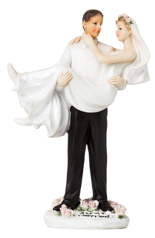 Elegant Just Married Groom Holding Bride Wedding Cake Topper