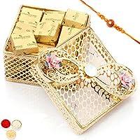 Rakhi Chocolates-Golden Jewellery Box With Chocolates
