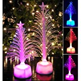 Fiber Optic Tree Set - 2 Pc Set Color Changing Holiday Tree Set With A Star - Tabletop Tree Set