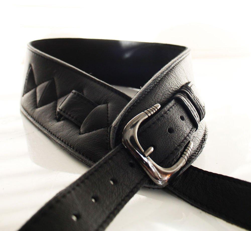 black uk made wide big softee adjustable buckle real leather guitar strap 639725105334 ebay. Black Bedroom Furniture Sets. Home Design Ideas