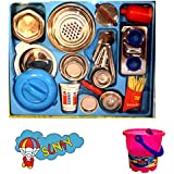 Cute Stainless Steel Kitchen Toys With Chotu Colorful Bucket