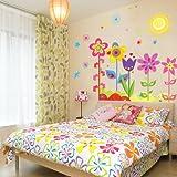Oren Empower Pop Color Flowers With Butterflies & Sun PVC Vinyl Medium Wall Decals