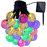 GDEALER Solar String Lights 20ft 30 LED Crystal Ball Waterproof Outdoor String Lights Solar Powered Globe Fairy...