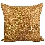 Svisti Raw Silk Single Piece Cushion Cover-Gold, 40.64 Cm X 40.64 Cm - B00N3NYPV6