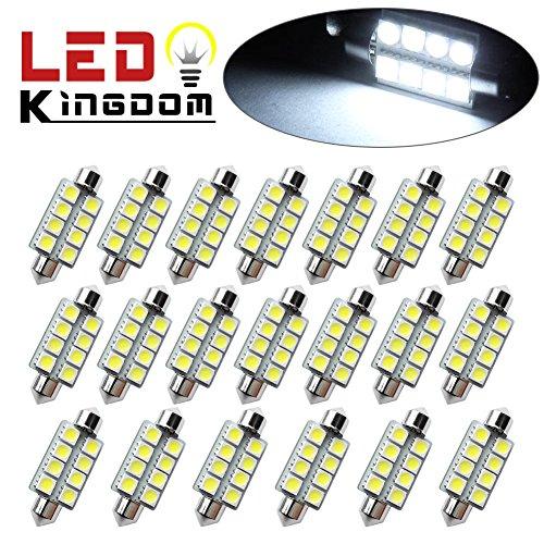 LEDKINGDOMUS 20x 1.66″ 42mm 8-SMD Festoon 6000K White LED Interior Map Dome Lights Bulbs 211-2 578