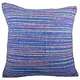 Svisti Raw Silk Single Piece Cushion Cover-Blue, 40.64 Cm X 40.64 Cm - B00N3NYTKS