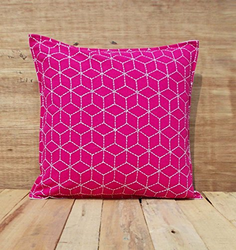 Bright Pink Throw Pillow Cover Cotton Cushion Cover Embroidered Geometric Pattern Bohemian Moroccan Standard Size...