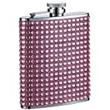 """Visol """"Kylie"""" Bling Stainless Steel Hip Flask, 6-Ounce, Pink"""