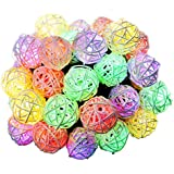 Cymas Christmas Solar String Lights, Rattan Globe Decorative Light For Outdoor[30LEDs, 21.3ft]