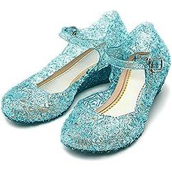 Katara 0710144495197 - Frozen Prinzessin Elsa, Cinderella Absatz-Schuhe für Kinder, blau