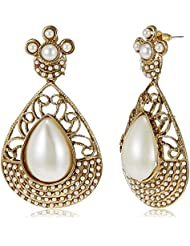 Poetry Accessories Pearl Drop Earrings For Women (Gold) (PMER-040)