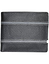 Style98 Black And Grey Genuine Leather Designer Wallet With Coin Pocket For Men - B017P5YC24