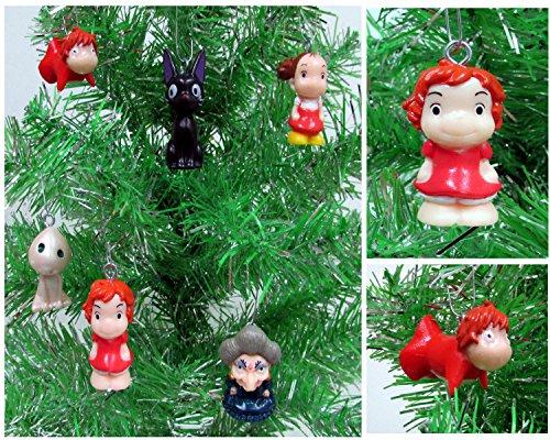 ANIME 6 Piece Ornament Set Featuring Ponyo, Yubaba, Jiji and Kodoma, Ornaments Average 1