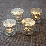 Luna Bazaar Vintage Mercury Glass Candle Holders (3-Inch, Caroline Design, Vertical Motif, Silver, Set Of 4) -...