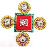 Ira Creations Round And Square Acrylic Rangoli Set Of 5 (30.5cm X 30.5cm)