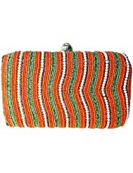 The Indian Handicraft Store Women's Clutch Orange Green & White Beads Stripes