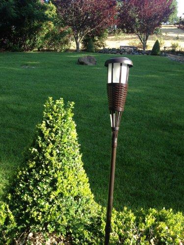 Outdoor Lighting Solar Tiki Torches Led 4 Pack Garden