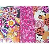 Staples Two Pocket Poly Folder ~ Set Of 3 Flower Folders (Flowers On Black, Flowers Sketched, Ladybu