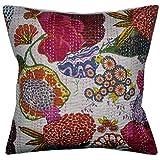 Home Décor Floral Print Design Kantha Work Single Cushion Cover 16x16 Inches