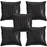 Idrape Polyester 5 Piece Cushion Cover Set- Black, 40 Cm X 40 Cm - B013UCR5KC