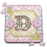 Dooni Designs Monogram Initial Designs - Regal Pastel Mod Damask Monogram Initial D - 10x10 Inch Puzzle (pzl_102836_2)