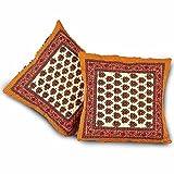 Jaipur RagaEthnic Floral Handblock Print Orange Quilted Cushion Covers Pair Set