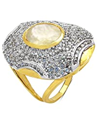 7.15 Grams Green Glass & White Cubic Zirconia Gold Plated Brass Ring - B00XC2BBEM