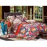 Bianca Damaris Cotton Double Bedsheet With 2 Pillow Covers - Deep Carmine