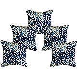 "Furnishing Zone Satin 5 Printed Cushion Covers - 16"" X 16"", Blue"