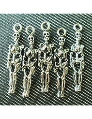 Np Supplies 6 Skeleton Charms Antique Voodoo Dark Tibetan Silver Tone (NS218)