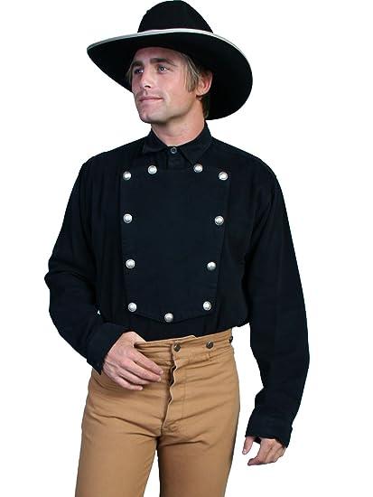 Victorian Men's Shirts- Wingtip, Gambler, Bib, Collarless Twill Bib Shirt  AT vintagedancer.com