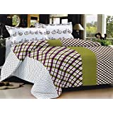 Lali Prints Stylish Checks With Cycle Printed 1 Double Bedsheet With 2 Pillow Covers