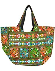 Joypur Trésors Women's Tote Bag (Multi-Coloured, JTSH_0028_Sholder Bag_Black)