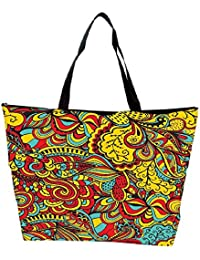 Snoogg Vector Seamless Texture With Abstract Flowers Endless Background Ethnic Sea Waterproof Bag Made Of High...