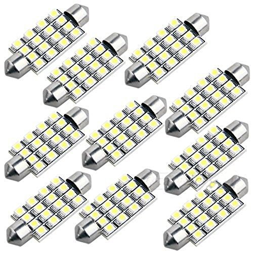 10 42mm 16 SMD LED White Car Dome Festoon Interior Light Bulb