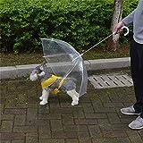 Alcoa Prime Transparent Pet Umbrella Small Dog Umbrella Rain Gear With Dog Leads Keeps Pet Dry Comfortable In...