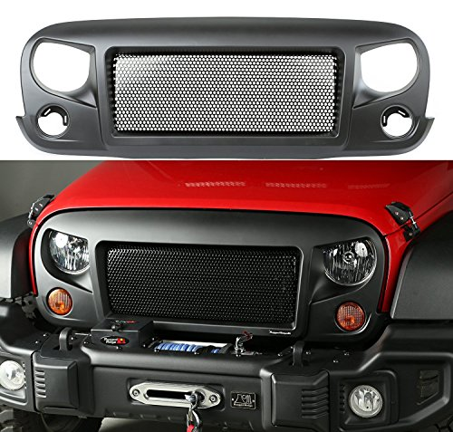 Sporthfish® Latest Black Front Matte Grill Mesh Grille Spartan Grille Insert aggressive off-road look For jeep Wrangler Rubicon Sahara Jk 2007-2015