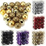 Generic Purple : Sale New Arrivals 24 Pcs/Set Glitter Chic Christmas Baubles Ornament Ball Party Home Garden Decor