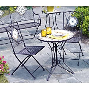Amazon.com : Living Accents Slate Bistro 3 Piece Set (One ... on Living Accents Patio id=94854