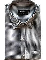 ARANY'S Premium Black & White Checkered Slim Fit Formal Shirt For Men - F201, SIZE-44