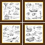 Go Hooked Multicolour Wooden Wall Painting With Frame Set Of 4