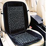 Zento Deals Black Wooden Beaded Plush Velvet Seat Cover Premium Quality Ultra Comfort Massage Cool Car Seat Cushion...