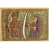 "Dolls Of India ""Ravana Abducting Sita As She Crosses The Lakshman Rekha"" Madhubani Folk Art On Paper - Unframed..."